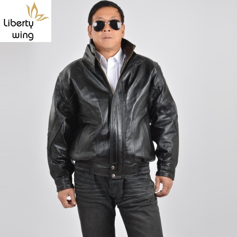 Winter Mens Stand Collar Motorycle Cowhide Genuine Jacket Biker WIndproof Overcoat Thick Padded Loose Fit Leather Coat