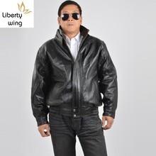Winter Mens Stand Collar Motorycle Cowhide Genuine Jacket Bi