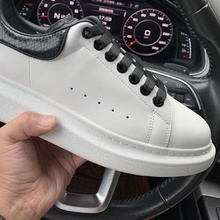 Купить с кэшбэком Top version 2019 true snake skin tail small white shoes men and women thick bottom pine cake shoes high version leather sneakers