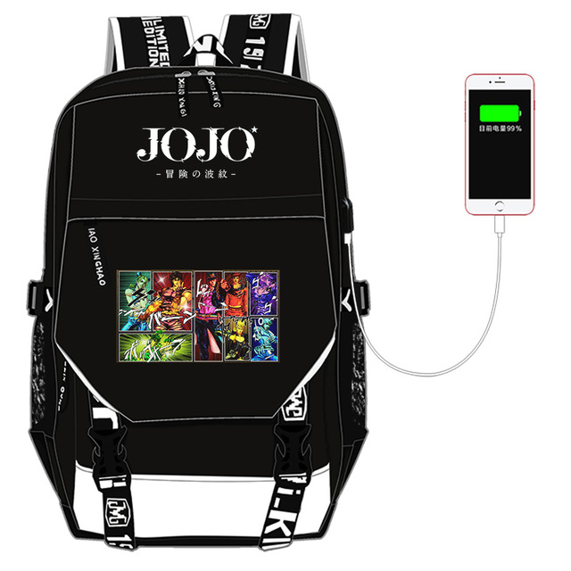 JoJo's Bizarre Adventure Kujo Jotaro Nylon School Bags for Teenage Girls USB Charging Laptop Backpack Canvas Bookbag Travel Bag