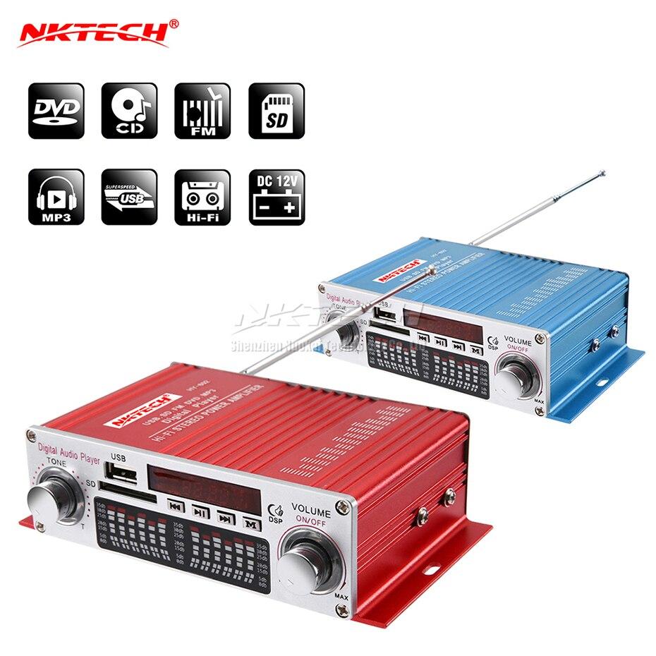 NKTECH HY-602 Автомобильный цифровой плеер аудио усилитель мощности 2CH 20 Вт RMS DSP Hi-Fi стерео TF USB FM DVD MP3 IR пульт дистанционного управления громкостью