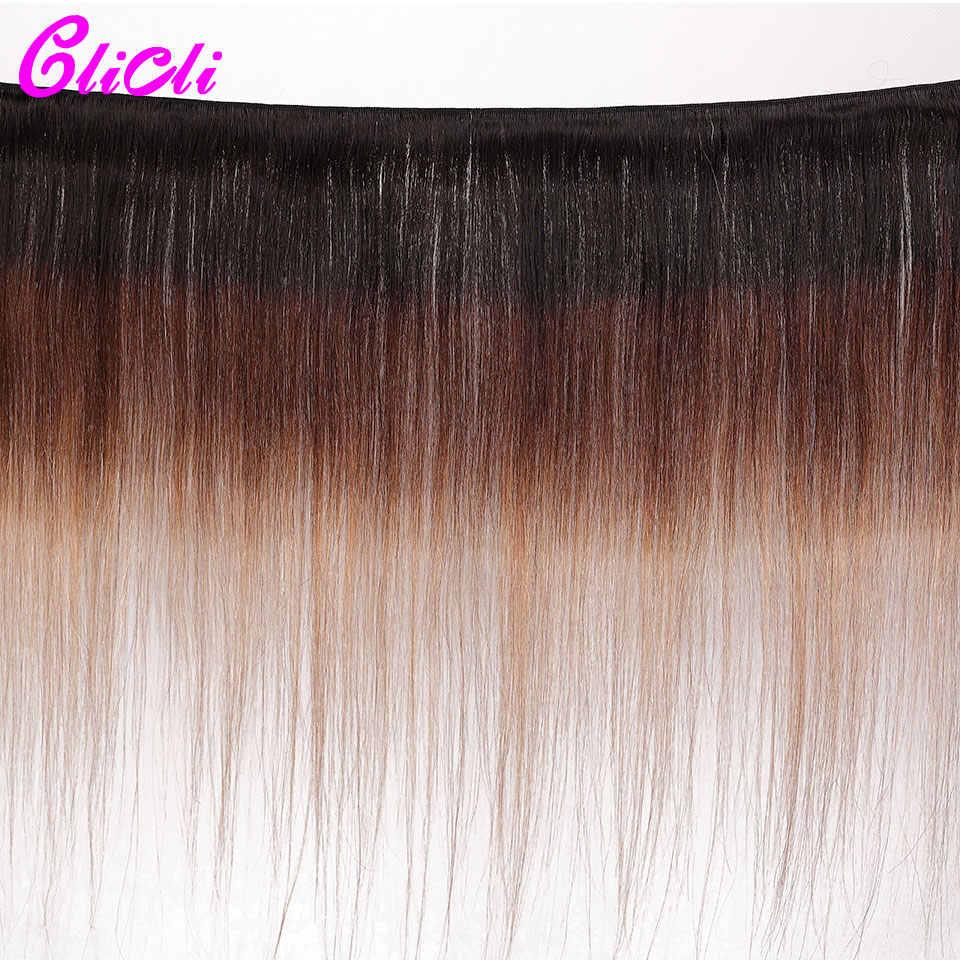 1B 4 27 ombre brasilianische haar bundles mit verschluss 3 tone farbe gerade menschliche haarwebart bundles mit 4x4 spitze schließung Remy