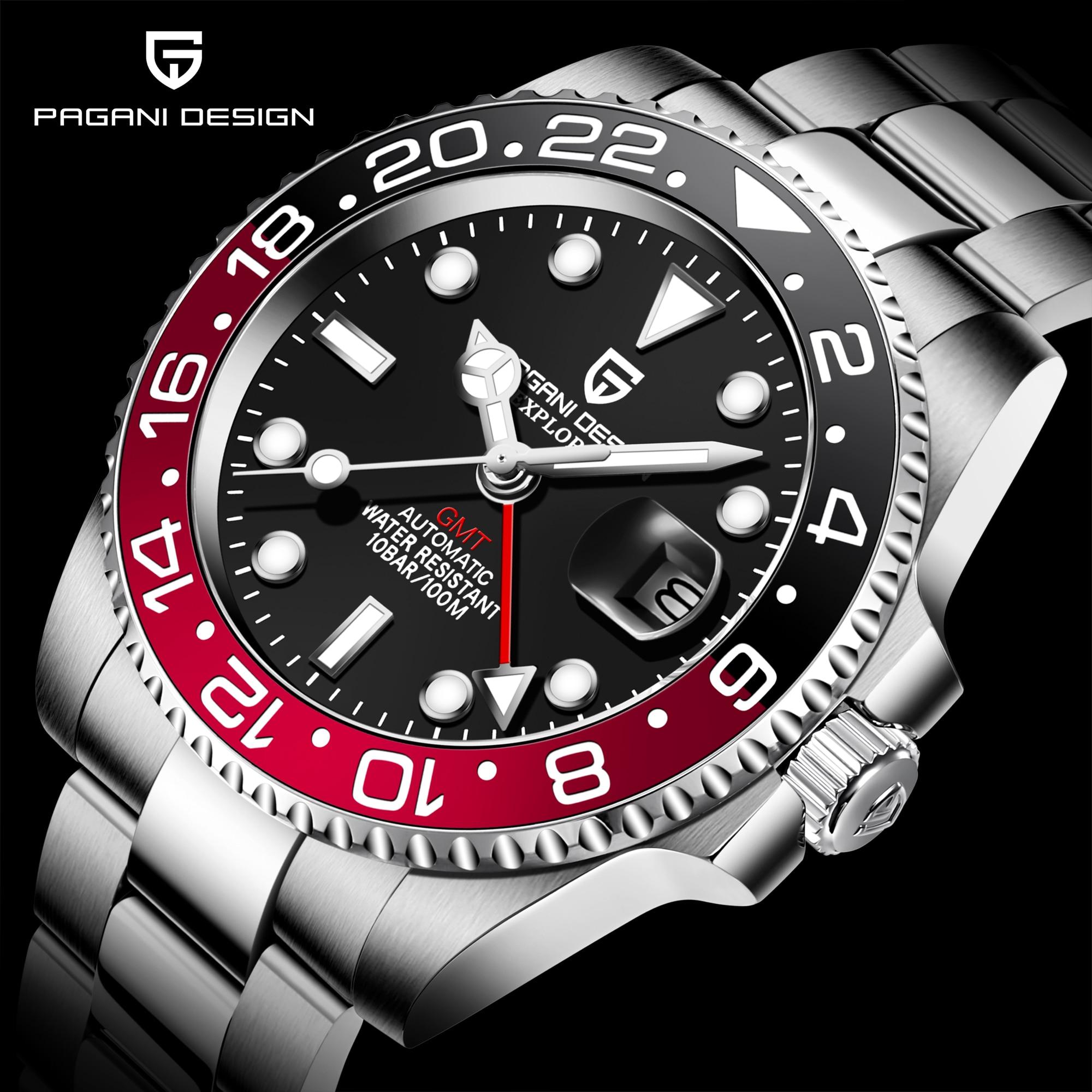 PAGANI DESIGN Top Brand Sapphire GMT Watch Stainless Steel Men Automatic Watch Waterproof Sports Mechanical Watch Reloj Hombre