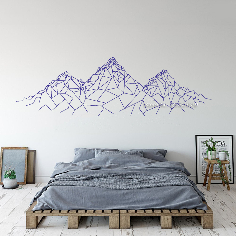 Geometric Mountain Wall Decal Simple Mountain Decals Mural Art Bedroom Wall Decor Head Of A Bed Vinyl Wallpapers Creative Lc1795 Wall Stickers Aliexpress