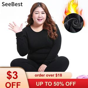 SeeBest 6XL Women Thermal Underwear Set
