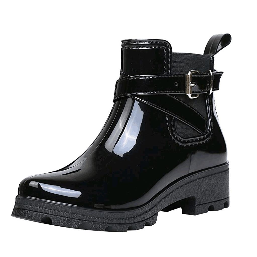 JAYCOSIN nowe kalosze gorąca sprzedaż ciepłe klamry platformy płaskie klapki PU wodoodporne botki motocyklowe damskie stylowe buty Rainny
