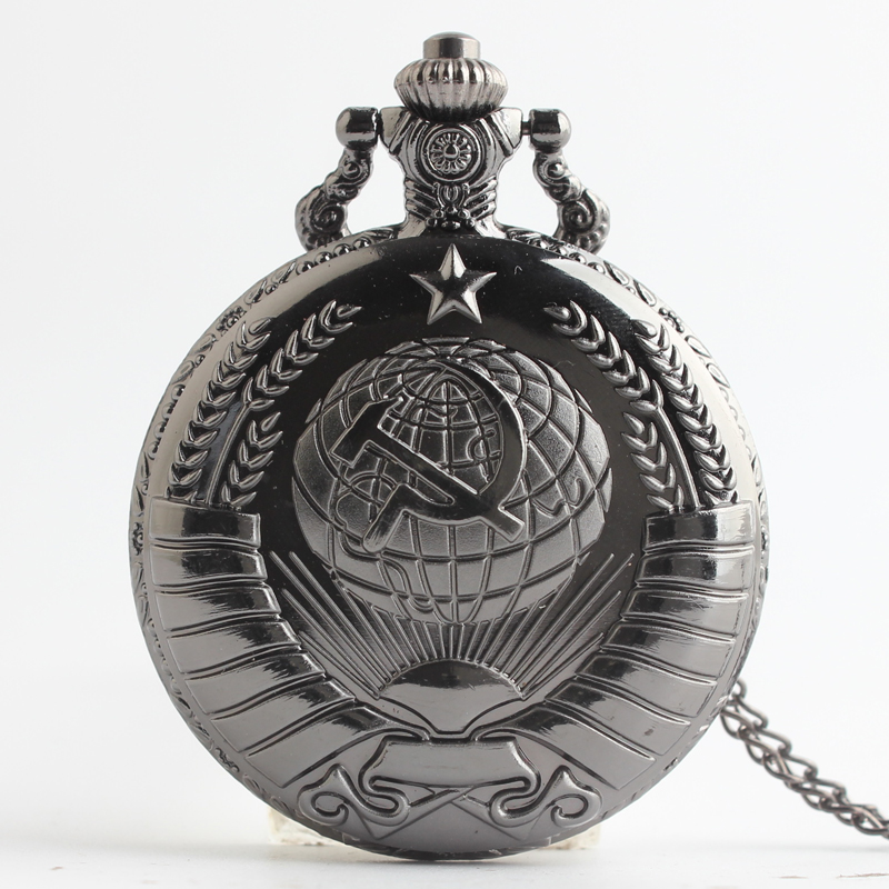 Pocket & Fob Watches Black USSR Soviet Badges Sickle Hammer Pocket Watch Necklace  Pendant Chain Clock Women Men for Christmas