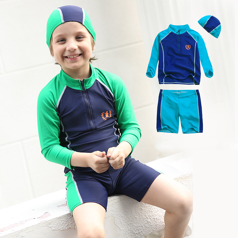 Children Large Size Bathing Suit Infant Baby Long Sleeve Sun-resistant Two-piece Swimsuits BOY'S Diving Wetsuit Three-piece Set