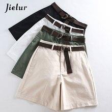 Jielur Shorts All match 4 Solid Color Sashes Casual Shorts Women A line High Waist Slim Short Femme Chic S XXL Ladies Bottom