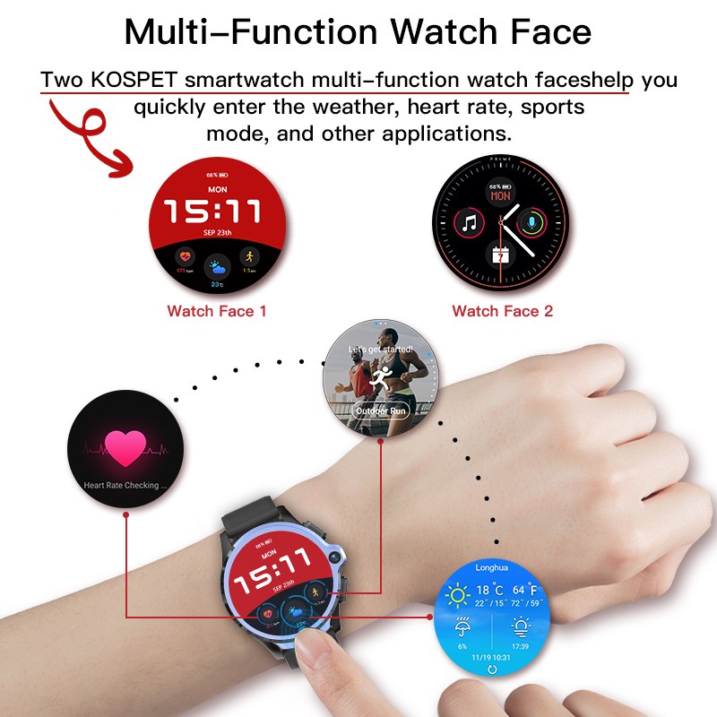 KOSPET Prime 3GB to 32GB Smart Watch for Men with Dual Camera and Face ID Detection 5