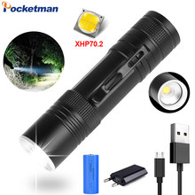 80000LM Flashlight XHP70.2 LED Torch USB Rechargeable Flashlight Zoom Flashlight Waterproof LED Flashlight with Pen Clip 18650(China)