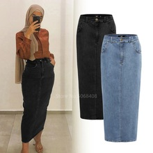 Muslim Abaya Women Denim Dubai Long Pencil Skirt Dress Hijab Turkish Islamic Clothing High Waist Femme Maxi Arabic Bodycon Skirt