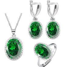 Зеленое изумрудно-серебряное 925 Φ, подарок, кольцо, ожерелье, подвеска, свадебные украшения