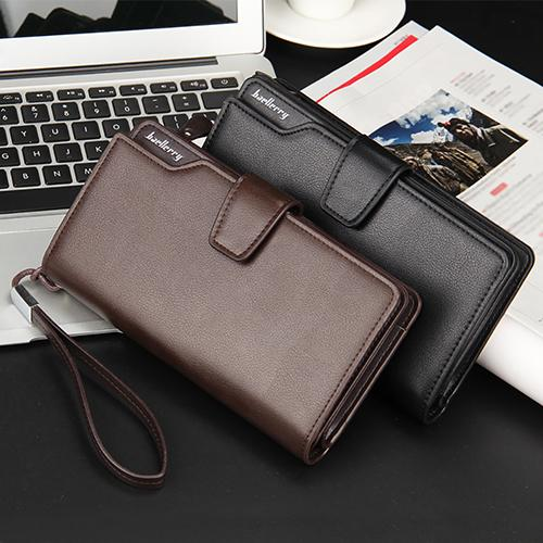 Men Faux Leather Long Wallet Zipper Credit Cards Phone Storage Purse Handbag