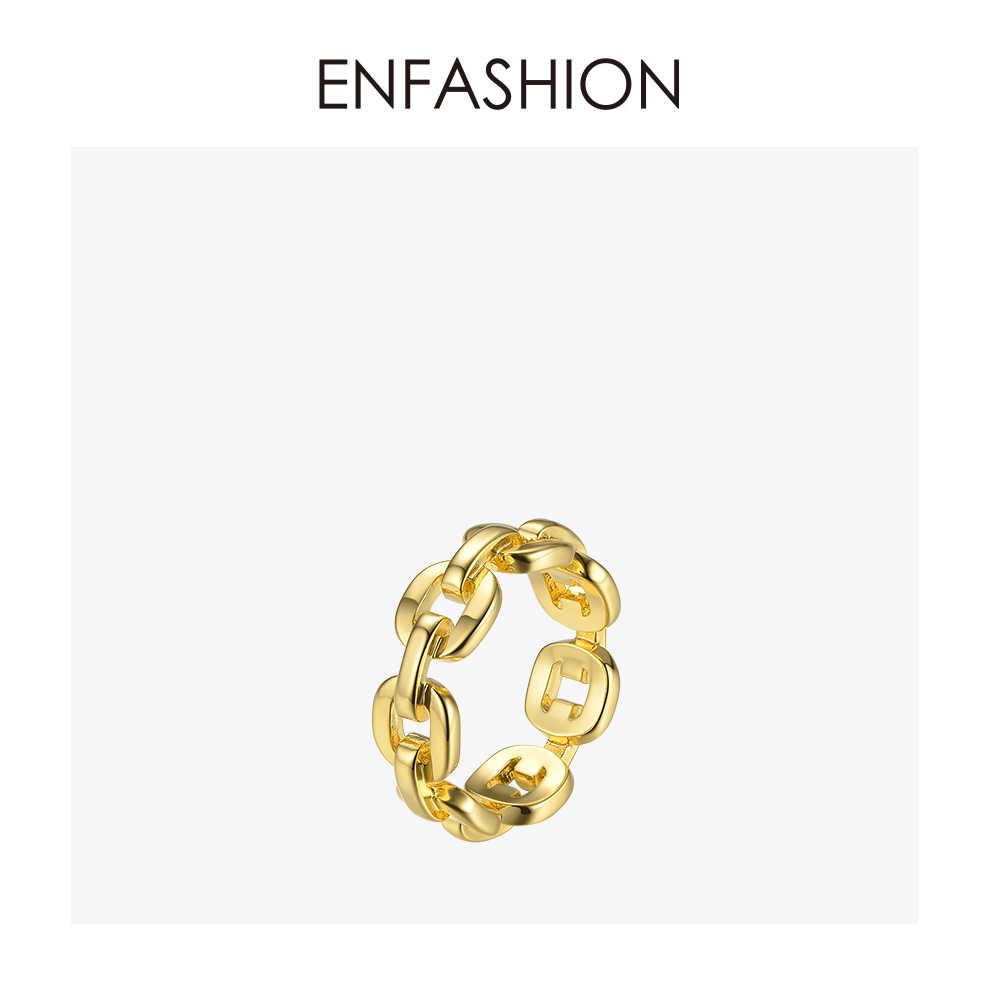 Enfashion צורה טהורה קישור שרשרת טבעת גברים זהב צבע גבירותיי טבעות לנשים תכשיטים Bague Femme Homme Ringen RF184006