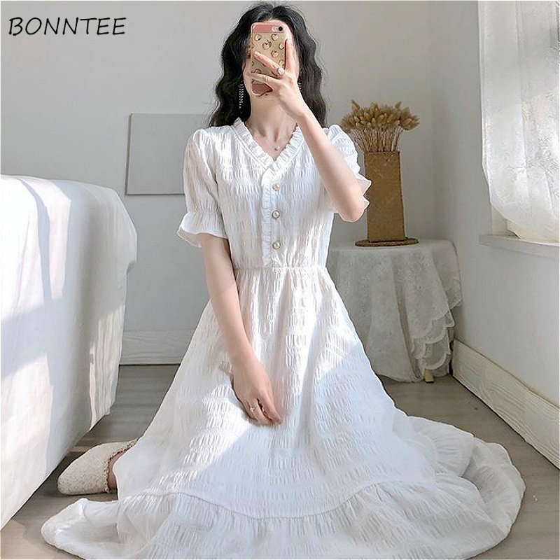 Dress Women Vintage White Popular Summer Chic Design College Girls Dresses Lovely Ruffles High-Waist Elegant Ladies Holiday Wear