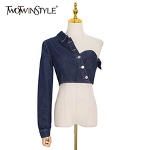 TWOTWINSTYLE Asymmetrical Patchwork Coat For Women One Shoulder Long Sleeve Sexy Party Slim Coats Female Fashion New 2020 Autumn