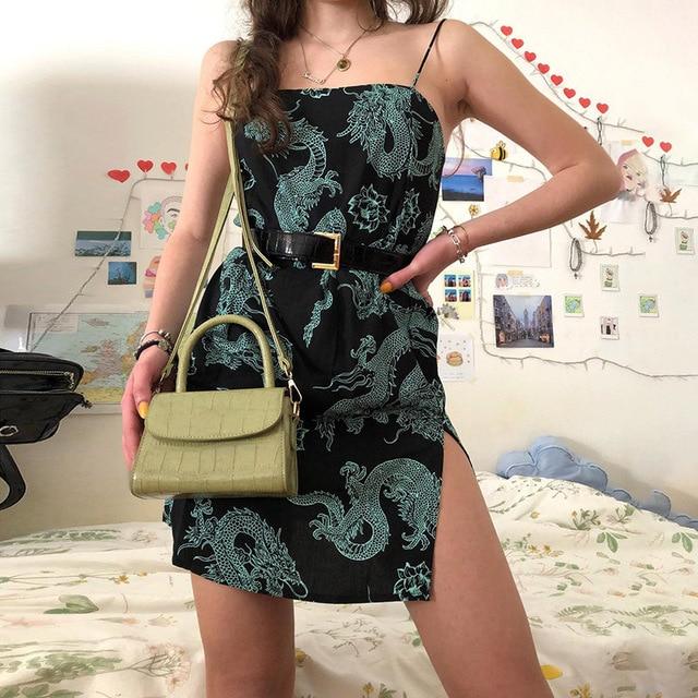 Vintage Dragon Printed Mini Dress Summer 2020 Women Street Strap Dresse Club Slim Party Tigh Short Dress Harajuku Robes vestidos 3