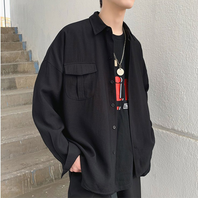 Oversize Harajuku Korean Pocket Men's Black Casual Thin Shirt Turn-down Collar Men Shirts 2020 Spring Summer Solid Male Top