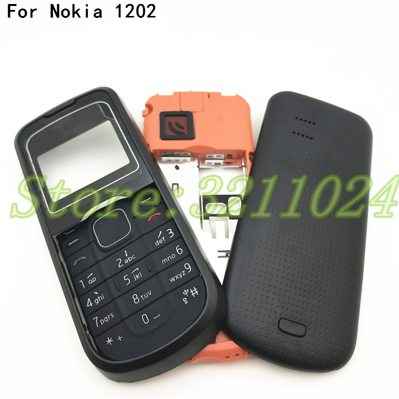 Good quality For <font><b>Nokia</b></font> <font><b>1202</b></font> New Full <font><b>Housing</b></font> Case Cover Front Frame With Key Board Display Glass+Middle Frame+Back Cover image