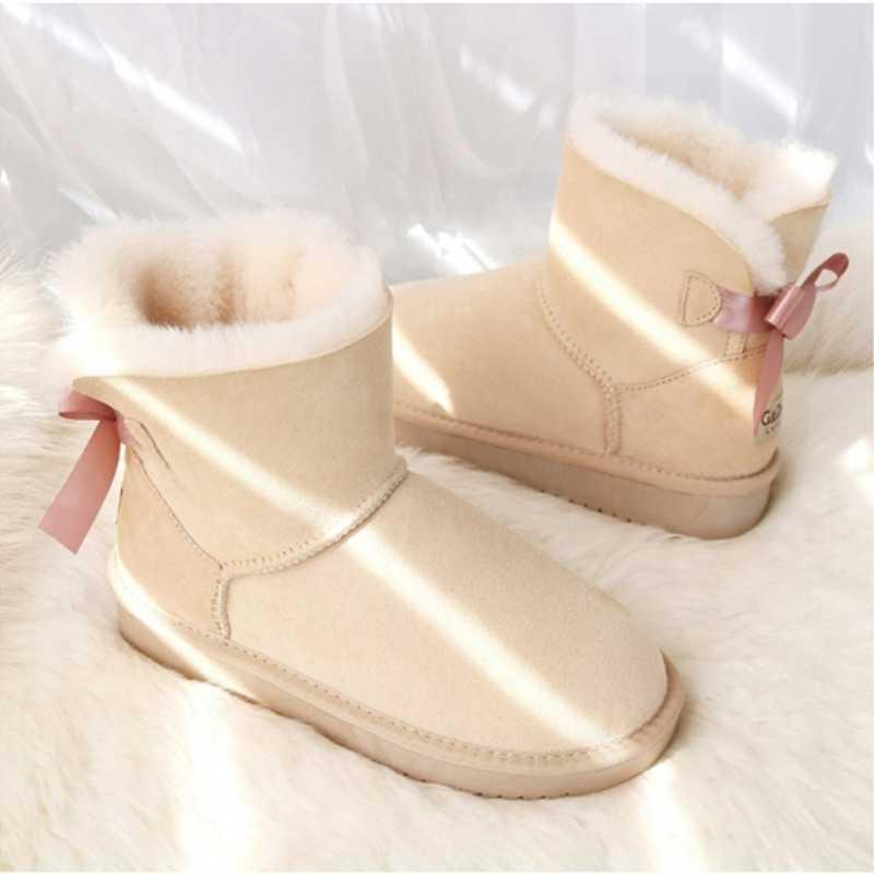 G & Zaco lüks doğal yün kar botları kadın hakiki koyun derisi çizmeler deri koyun kürk çizme düz tatlı yay kış kadın botları