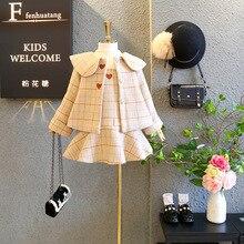 2pcs/set Fashion Kids England Style Plaid Princess Woolen Jacket+Dress for Girls Children Treasure Dress Love Heart Clothing Set