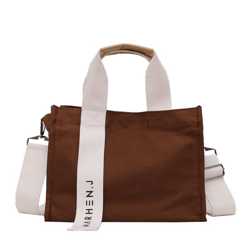 Women Fashion Canvas Shoulder Bag Large Capacity Female Big Tote Handbag Folding Reusable Shopping Bags Thin Strap Cloth Bags
