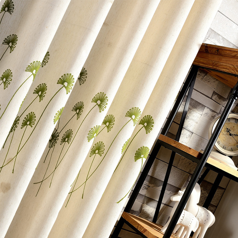 Modern American Country Style Curtain Cotton-linen Embroidered  Curtains For Living Room Curtains For Bedroom Blackout Curtains