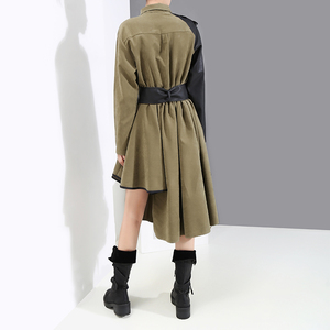 Image 3 - Manga larga verde militar Mujer 2020 invierno Midi vestido de camisa PU fajas Patchwork asimétrica señoras elegante vestido de fiesta estilo 5698