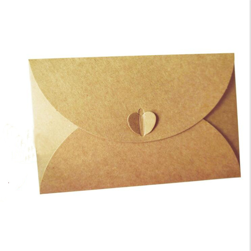 Hot Sale 7762 5pcs Pack Vintage Kraft Paper Ribbon Envelopes