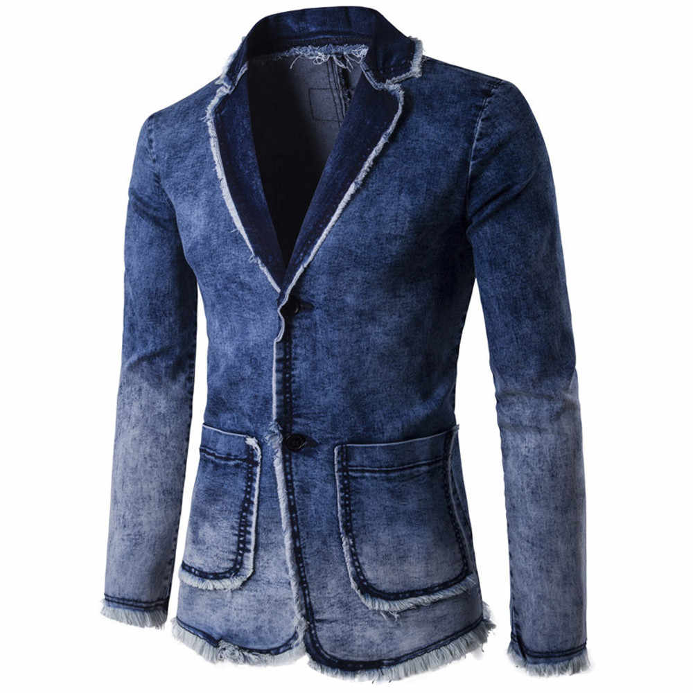 Mannen casual blazer denim jas 2019 Slim Fit Pak Jas Herfst Winter Casual overjas gradiënt d90726