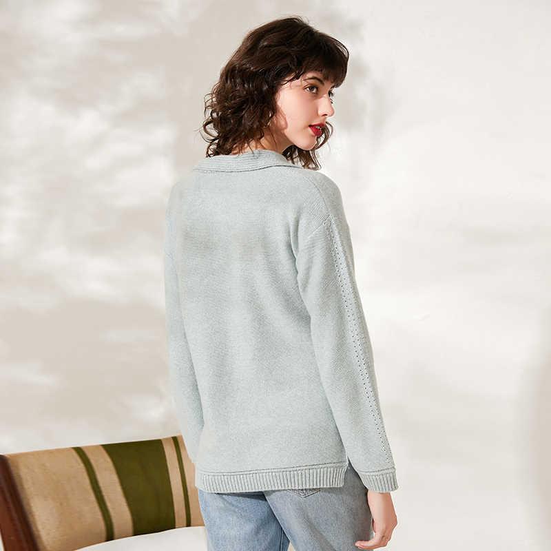 Thật Áo len nữ turndown collor dài tay áo khoác thu đông Áo Thun Cổ Áo khoác chất dệt kim dạo phố