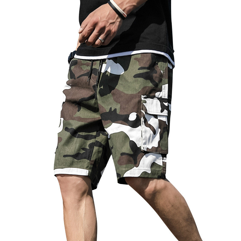 Summer Men's Outdoor Camouflage Cargo Shorts Pocket Cotton Casual Half Pants Mid Waist Drawstring Loose Shorts Bib Overalls 7XL