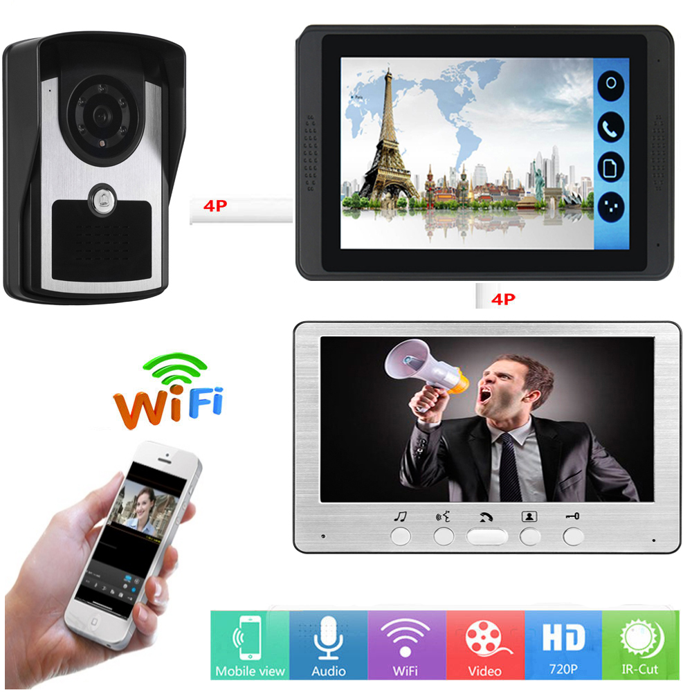 Video Intercom 7 Inch LCD Wifi Wireless Video Door Phone Doorbell APP Remote Control Visual Speakerphone Unlock Intercom System