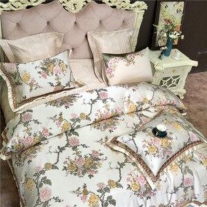 Image 4 - 4/6/10 Stuks King Queen Size Luxe Bruiloft Koninklijke Beddengoed Sets Satijn Katoen Zijdezacht Beddengoed Sprei dekbedovertrek Set