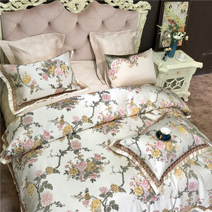 Image 4 - 4/6/10Pieces King Queen size Luxury Wedding Royal Bedding Sets Satin Cotton Silky Soft Bedclothes Bedspread duvet Cover set