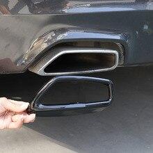 Bmw 5シリーズG30 G38 2018 2021ステンレス鋼黒車のテール喉排気管装飾カバーステッカーカーアクセサリー