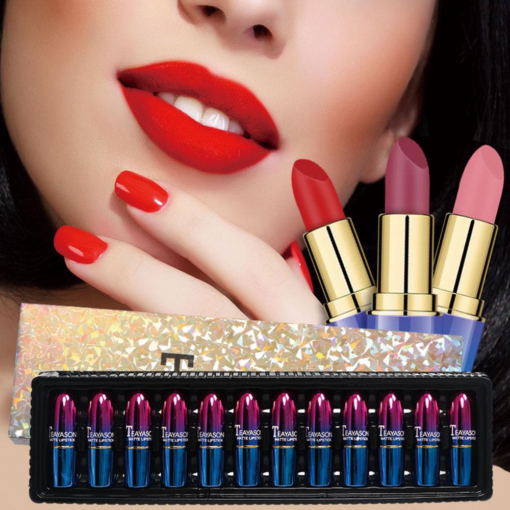 12 pcs set de 12 cor do batom batom gloss hidratante 3d lip glaze facil duradoura