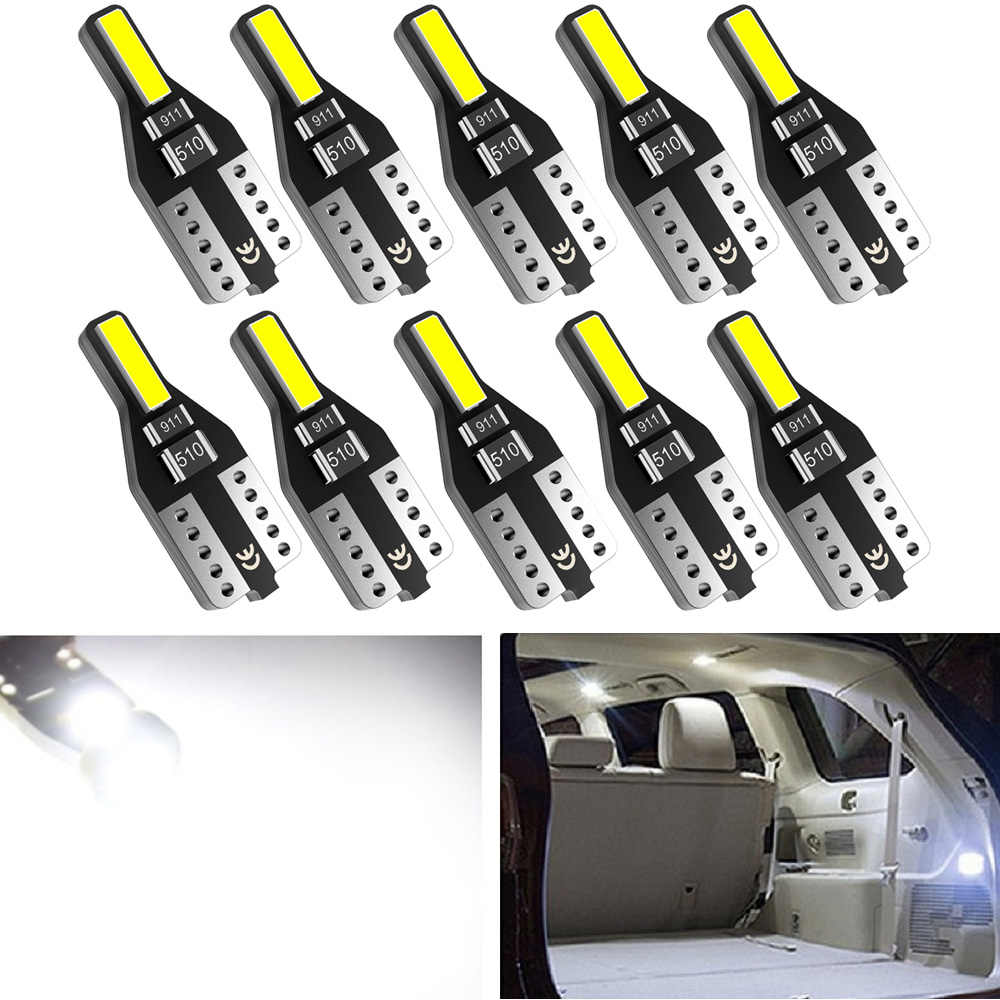 10x T10 W5W LED Bulb Car Interior Reading light For Ford Focus 2 3 Fiesta Fusion Ranger Kuga S Max Mondeo MK4 Mustang Escape MK2