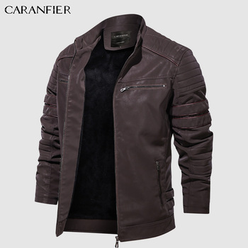 CARANFIER Fashion Winter Leather Jacket Men Stand   1