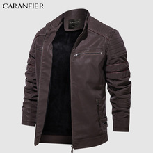 Jacket Coats Collar Motorcycle Washed Retro Winter Mens Fashion Velour Stand CARANFIER