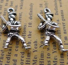 Alloy Baseball Man Charms 10*25MM Ancient Silver Pendant Charm For Jewelry Making DIY Bracelet 2019 Sport Dangle Charms(China)
