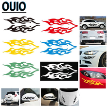 2PCS Cool Fashion Fire Sticker Car Stickers Reflective Flame Bumper Door Body Auto Motorcycle Decal Decor Styling