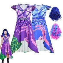2020 meninas rainha dos descendentes médios 3 mal evie bertha maleficent cosplay audrey traje crianças festa de halloween roupas macacões
