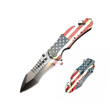 Stainless steel folding hunting outdoor camping tactical pocket knife with American flag
