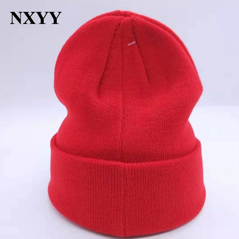 NXYY Women's Winter Balaclava Hats Men's Black Knitted Beanie Hat Female Warm Earwarmer A Cap Solid Lucky Red Hats Great Quality