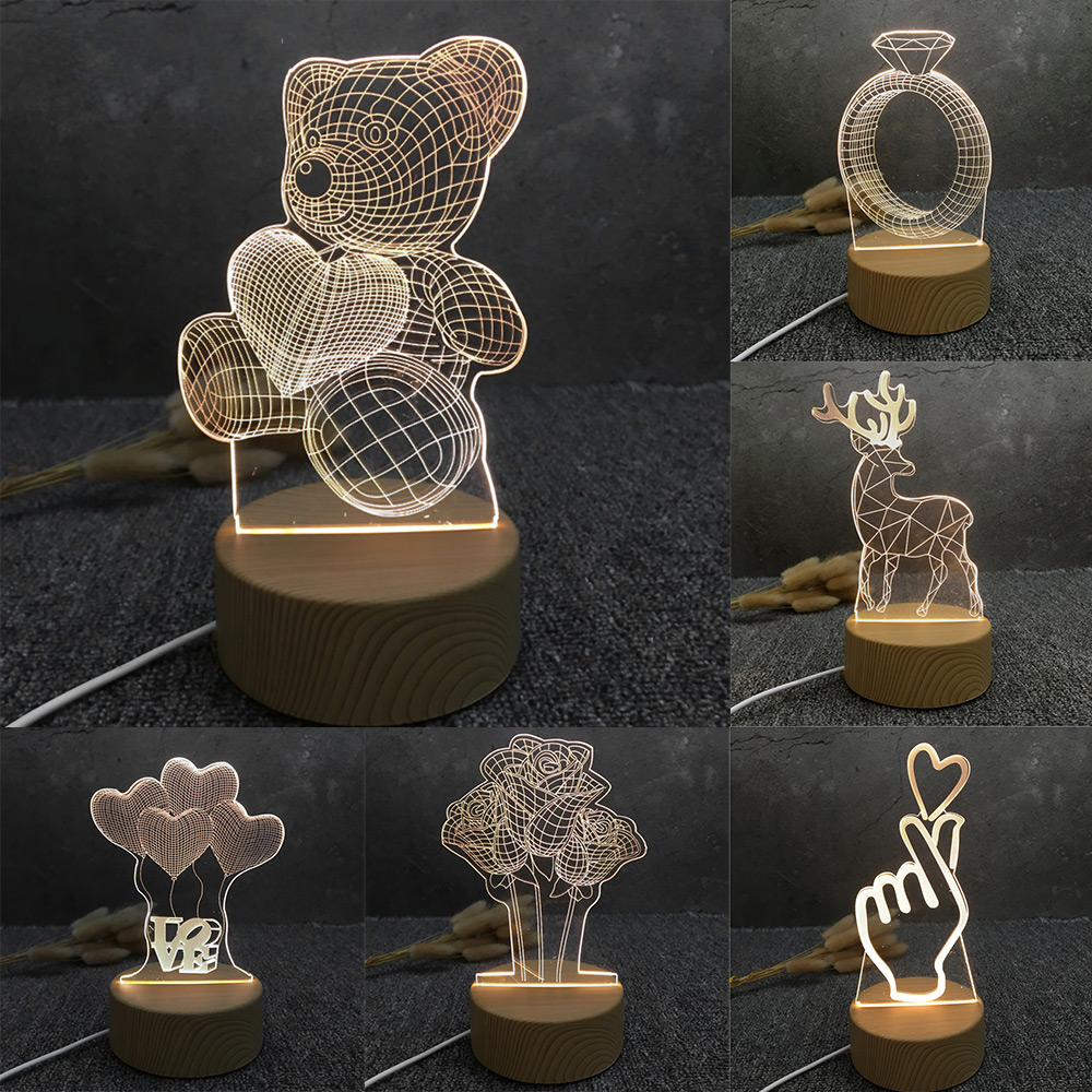2020 Newest 3D LED Lamp Creative Wood Grain Night Lights Novelty Illusion Night Lamp 3D Illusion Table Lamp For Home Decorative