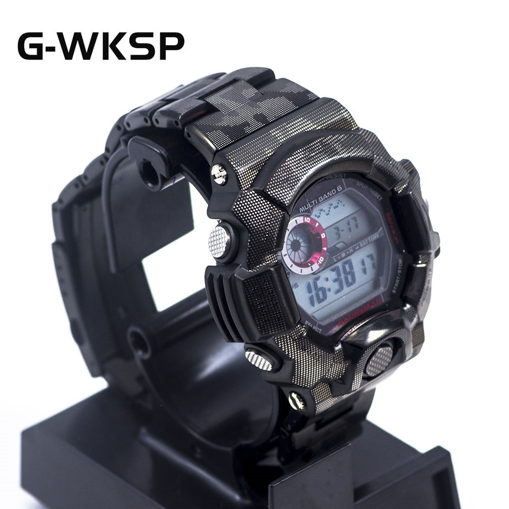 GW9400 New Arrival Black Camouflage 316L Stainless Steel Watchband Bezel/Case Strap Watch Set