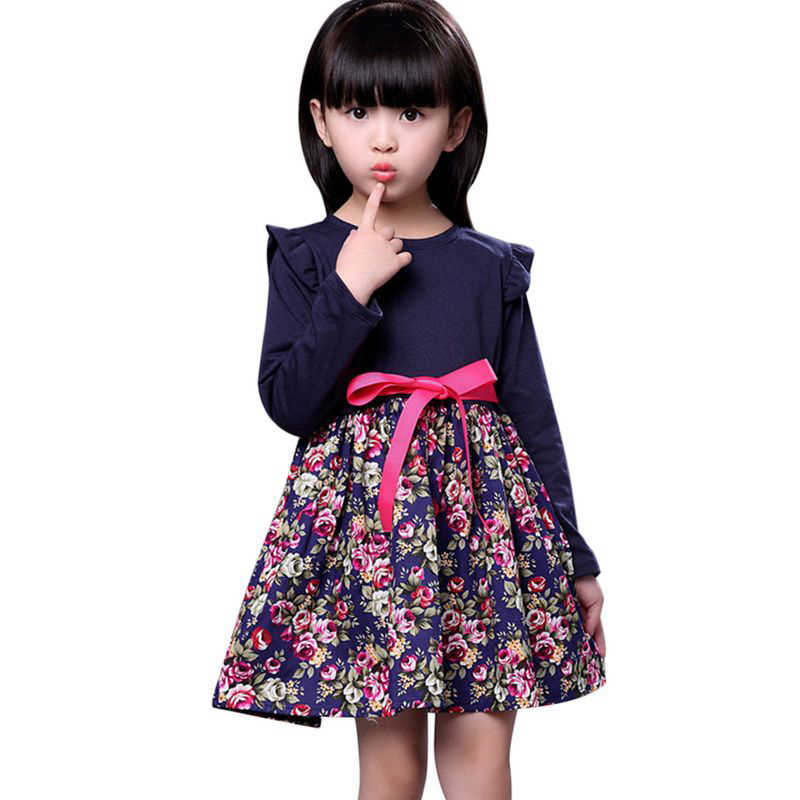 Girl Dresses Kids Long Sleeve Belt Stitching Flower Princess Dresses Children Girls Spring Autumn Clothes Party Wedding Outfits