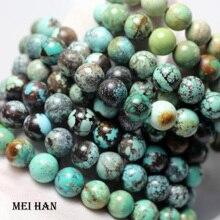 Vente en gros 9 9.5mm (1 bracelet/ensemble) naturel Hubei perles turquoisee non traitées pierre pour la fabrication de bijoux bricolage